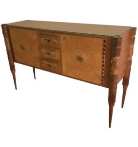 Pier Luigi Colli Mid-Century Modern Light Carved Wood Italian Sideboard