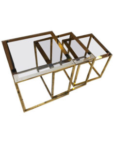 Set of three Mid-Century Modern Italian Square Modular Brass Side Tables