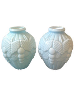 Pair of Art Deco French Light Blue Opaline Vases