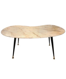 Mid-Century Modern Italian Yellow Marble and Brass Coffee Table