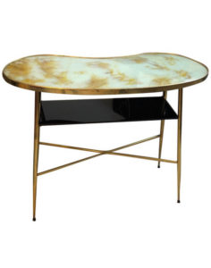 Mid-Century Modern Fake Marble Glass and Brass Italian Console