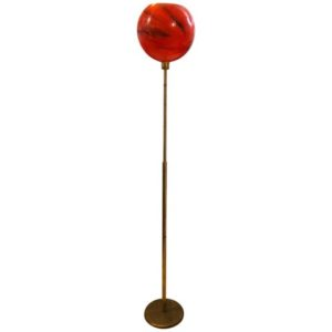 Mid-Century Modern Italian Brass and Red Glass Floor Lamp