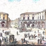 Drawing of the Asmundo Palace of the Princes of Gisira on Piazza Mazzini